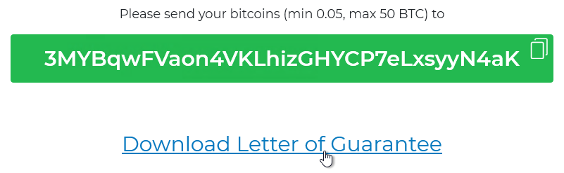 Screenshot: The link to download the Letter of Guarantee